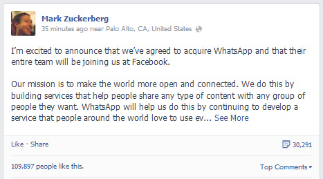 Mark Zuckerberg a cumparat Whatsapp